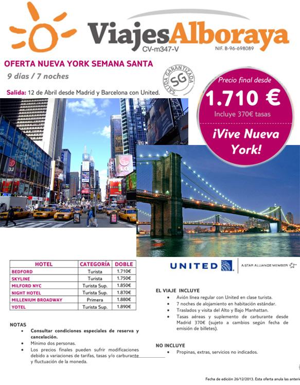 folleto oferta nueva york semana santa