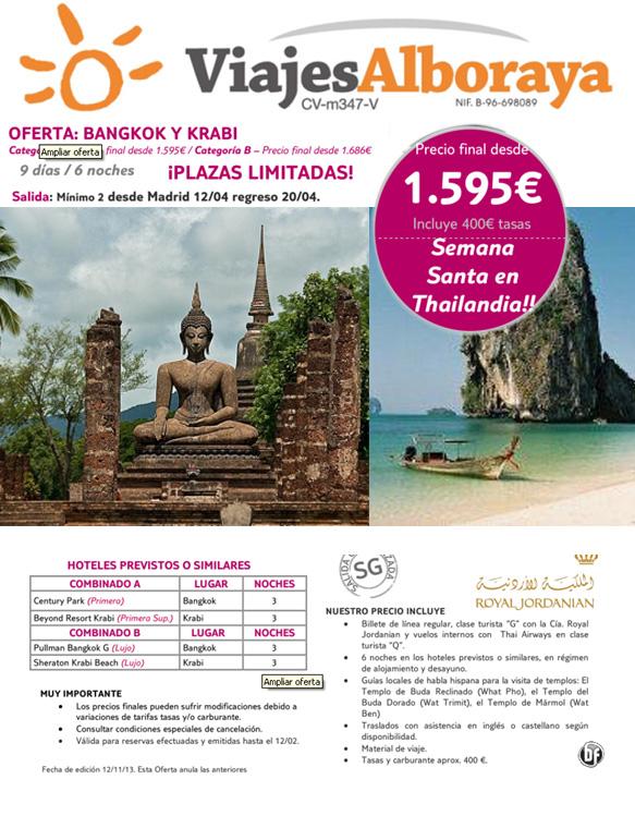 Folleto oferta semana santa thailandia