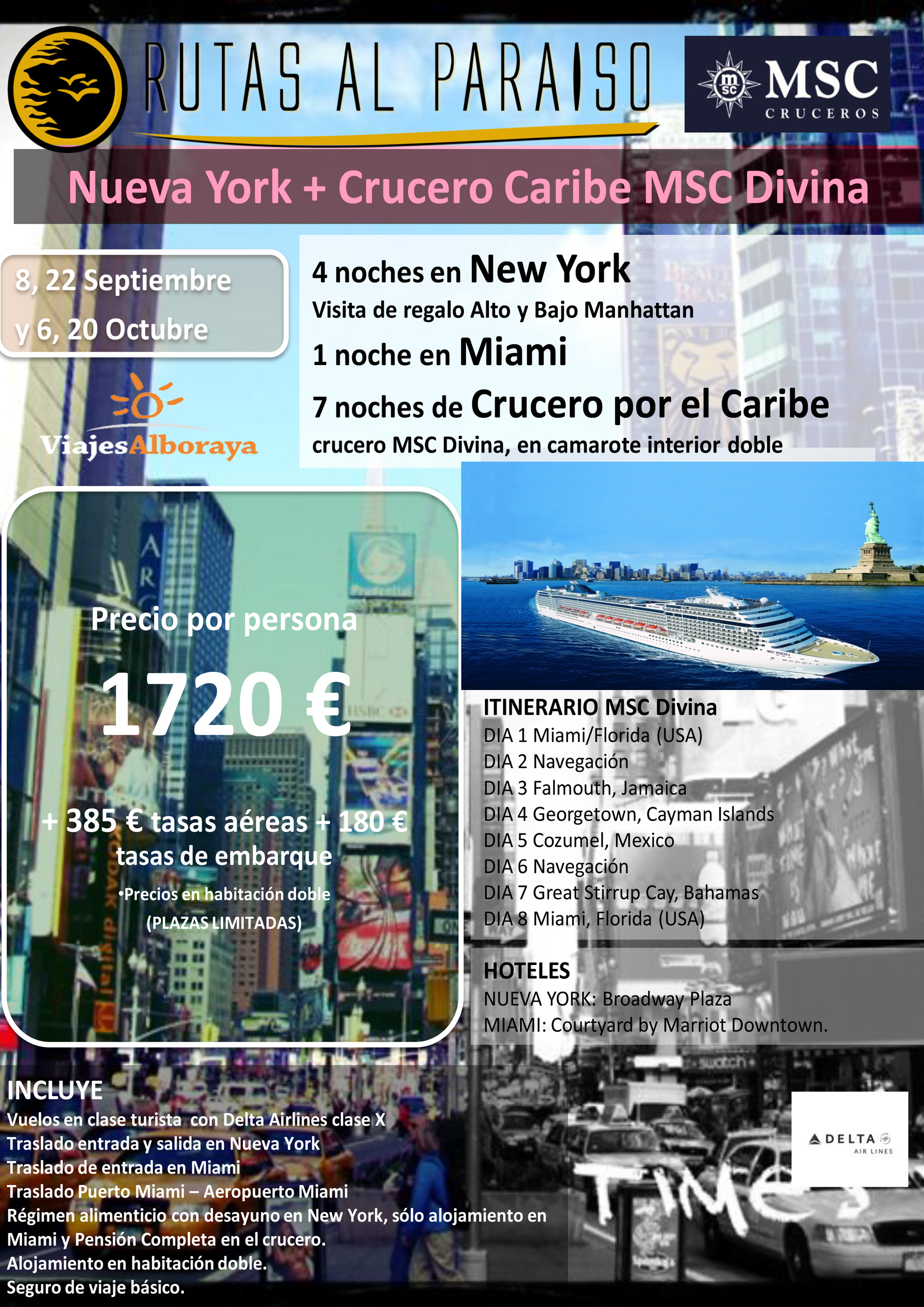 descripcion oferta nueva york y crucero